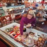 BALTIMORE, MD--January 5, 1996--Theressia Hein owns and manages Old World Gourmet at Belvedere Square Market. Photo by Perry Thorsvik/Staff